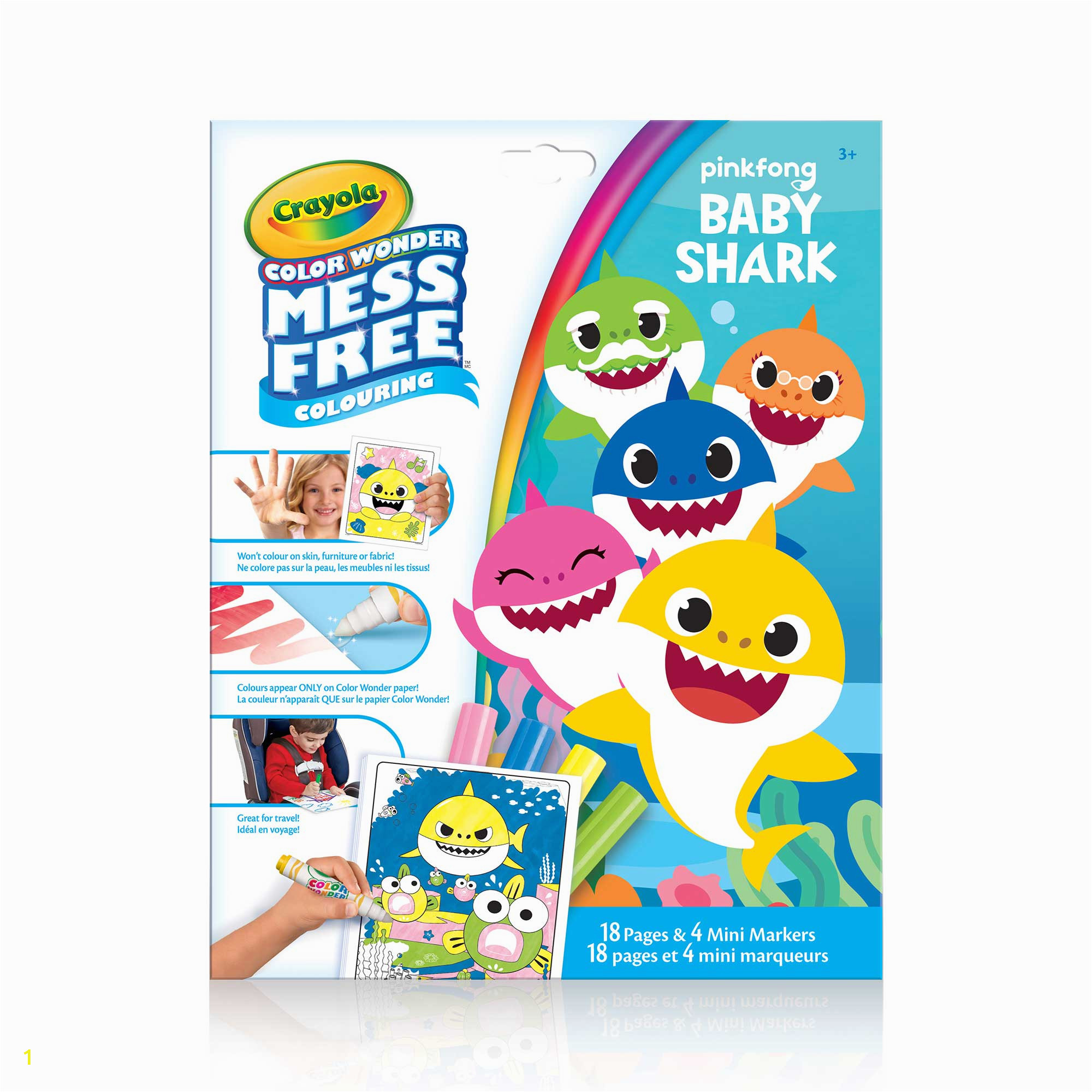crayola mess free color wonder pages mini markers baby shark