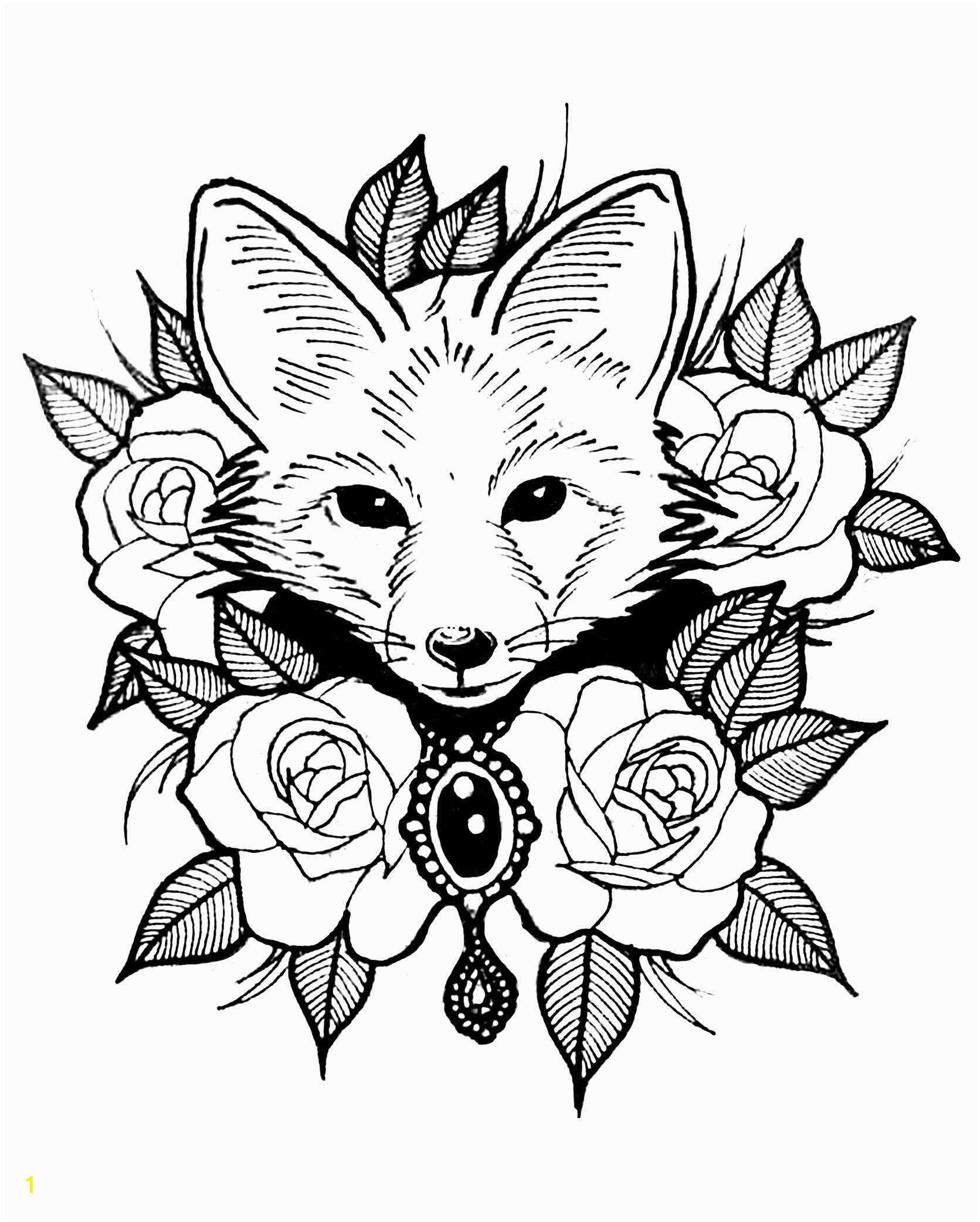 Cute Animal Coloring Pages for Adults Cute Fox with Roses