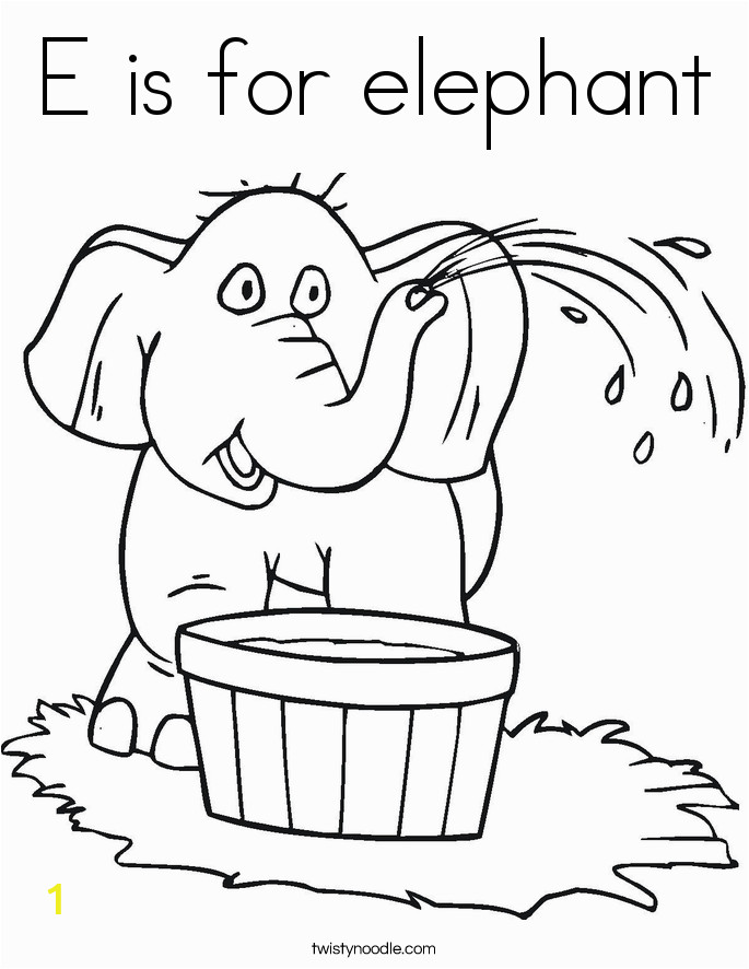 e is for elephant 10 coloring page