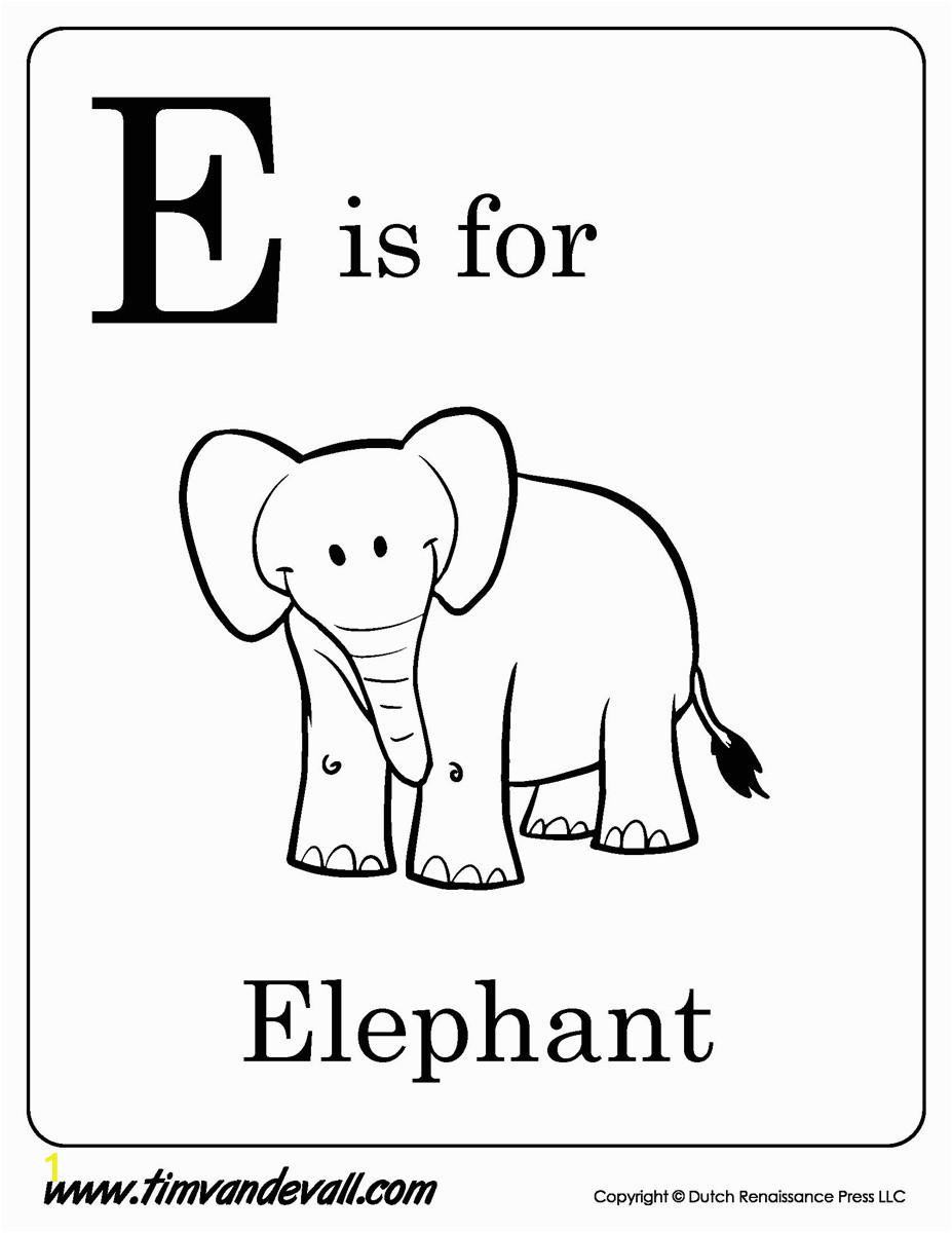 e is for elephant printable