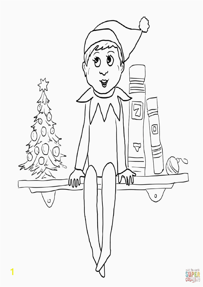 free printable elf on the shelf coloring pages