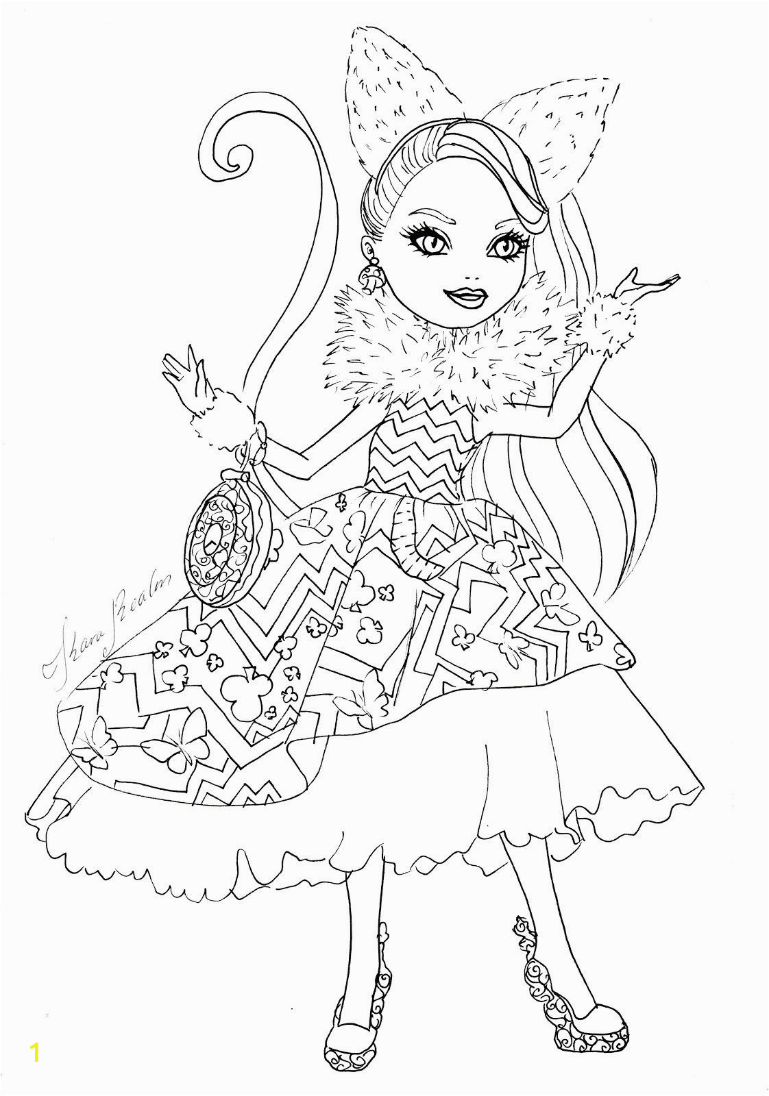 ever after high coloring pages kitty cheshire