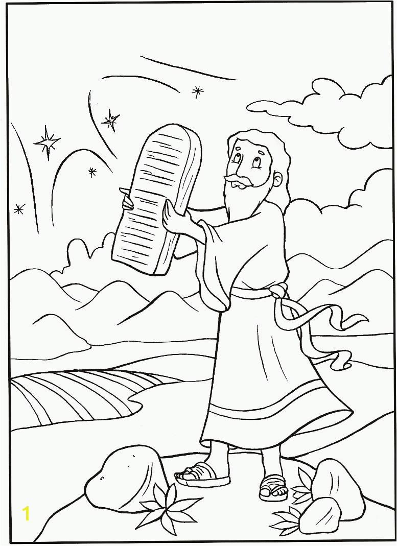 Free Bible Coloring Pages Ten Commandments Download Print Moses Receives Ten Mandments Coloring