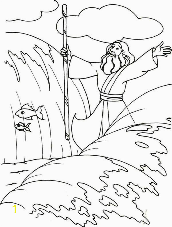 moses divide the red sea with his stick coloring page