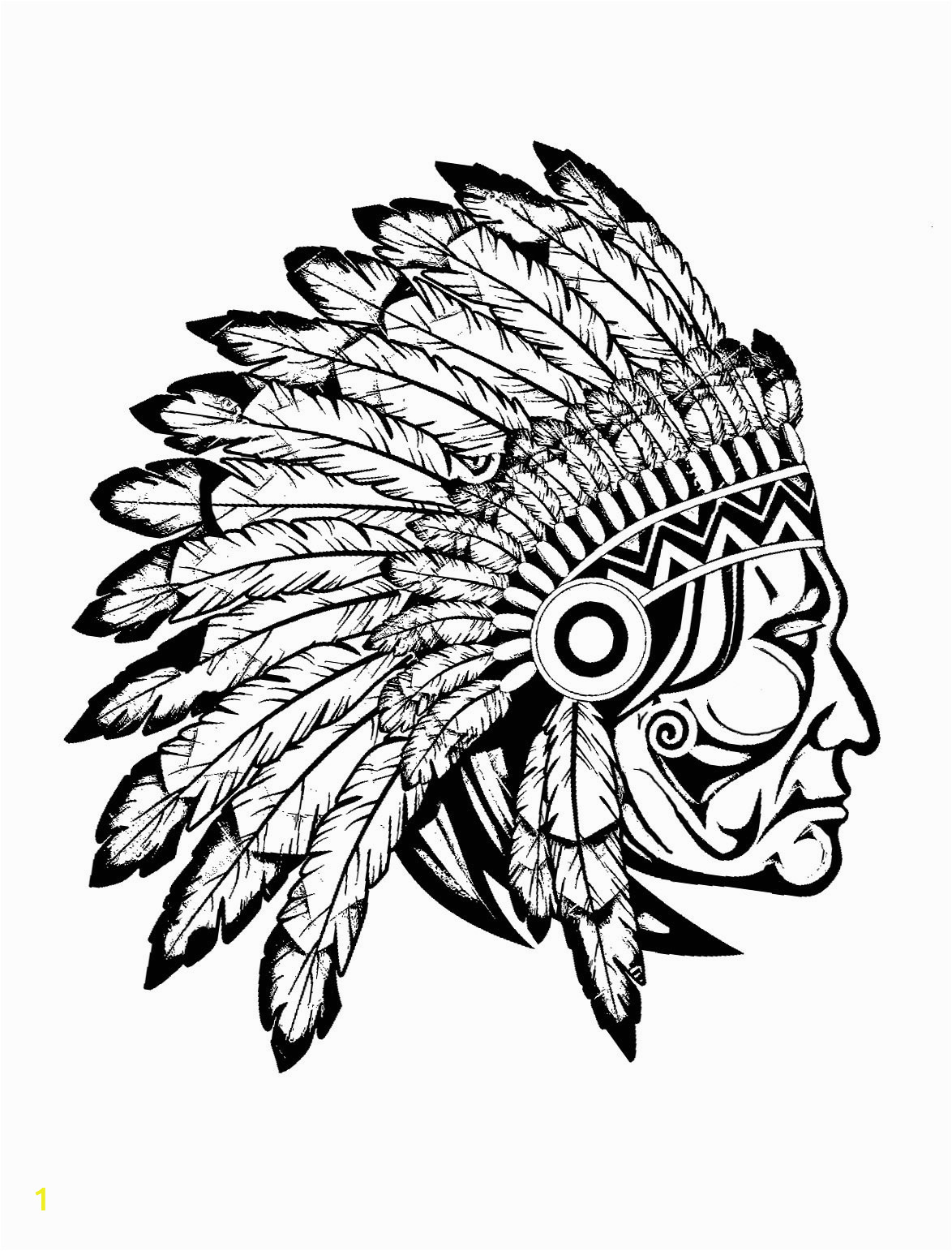 Free Native American Indian Coloring Pages Indian Native Chief Profile Native American Adult