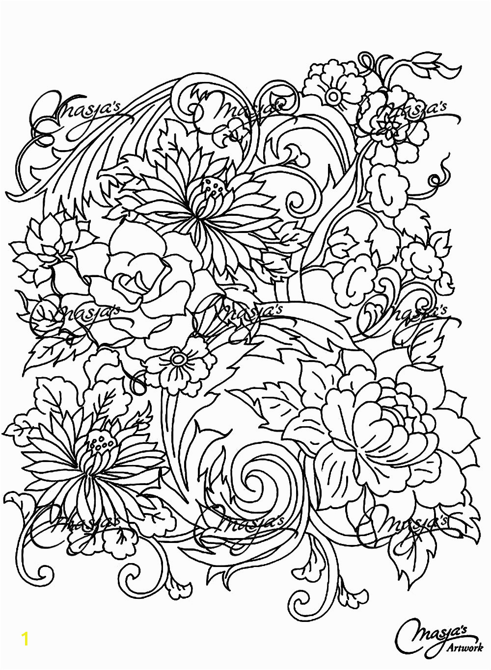 image=fleurs et ve ation coloring adult drawing flower 1