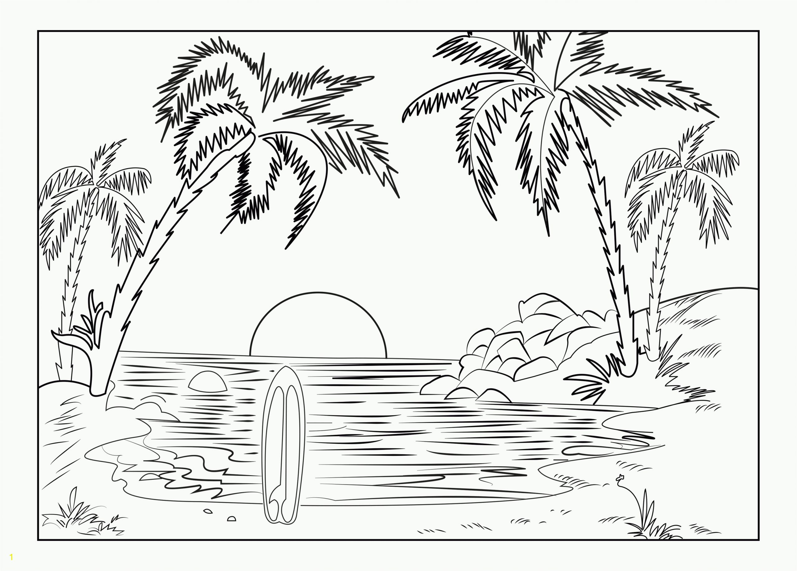 Free Printable Beach Scene Coloring Pages Scenery Coloring Pages for Adults Best Coloring Pages