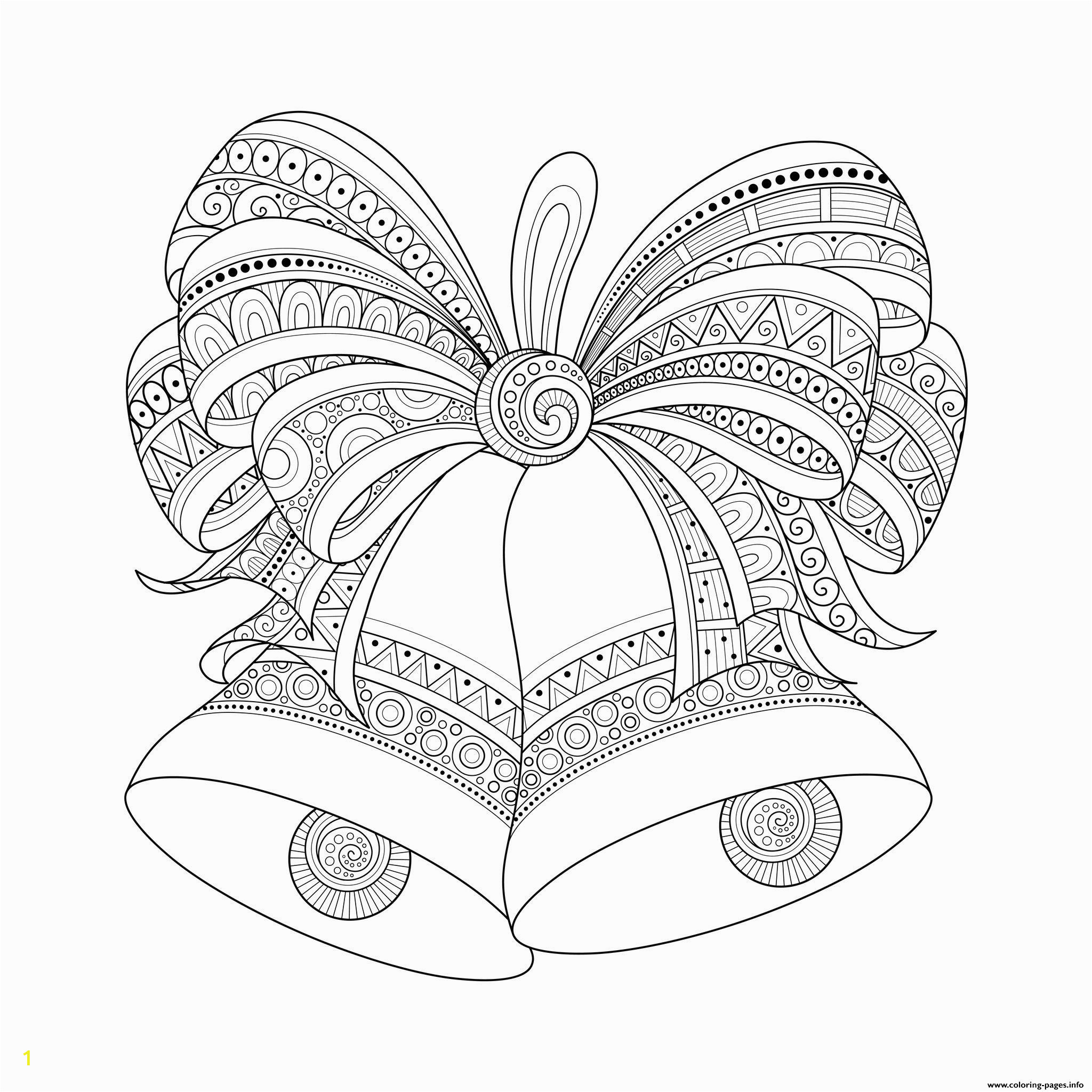 adult christmas bells zentangle printable coloring pages book