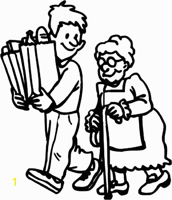 helping others by carrying elderly groceries stuff coloring pages