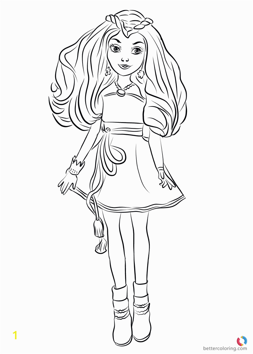 evie wicked world from descendants 2 coloring pages printable for kids