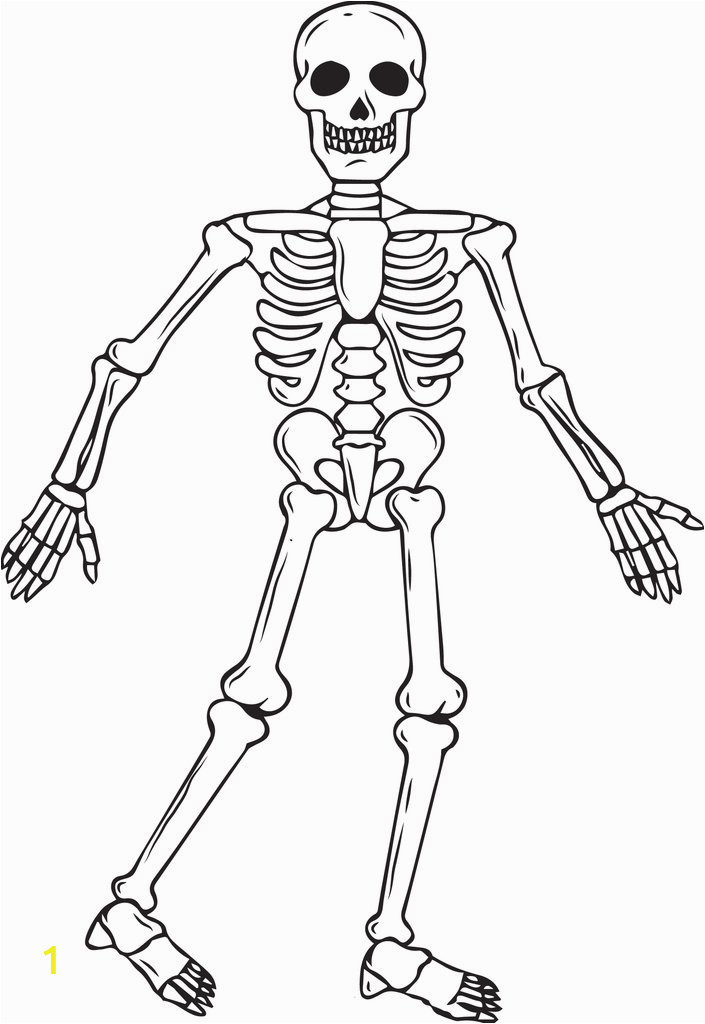 full body skeleton halloween coloring page