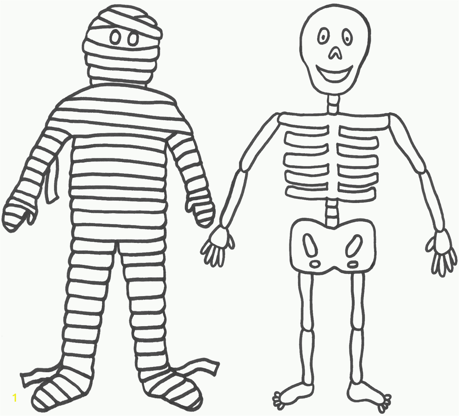 skeleton and mummy coloring page