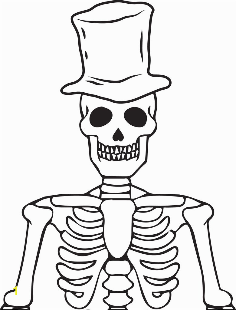 skeleton wearing a top hat coloring page a4309