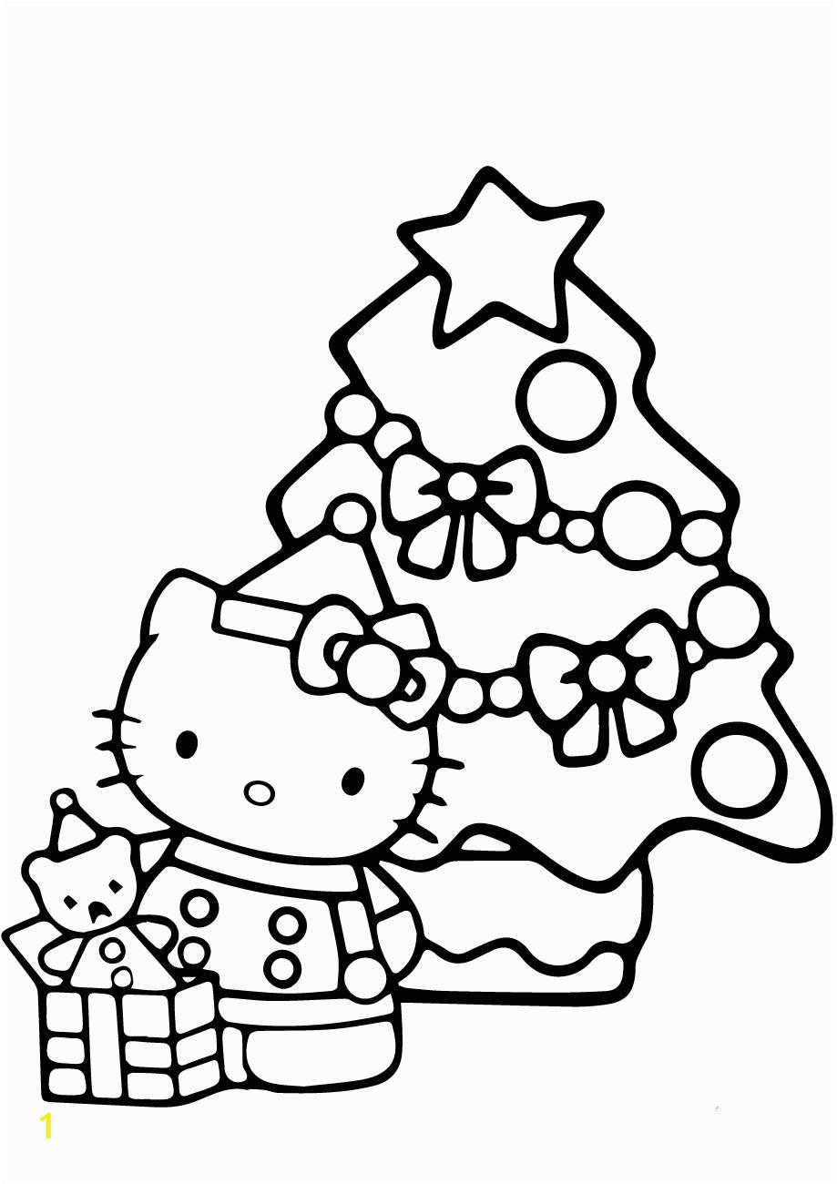 Free Printable Hello Kitty Christmas Coloring Pages Kitty and Christmas Tree Coloring Page Free Printable