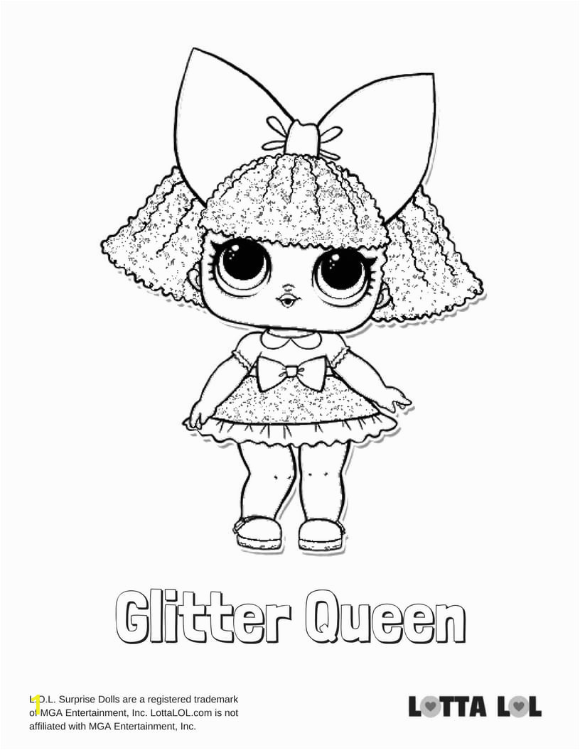 glitter queen coloring page
