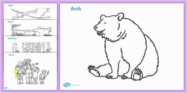 t t 4087 bear hunt colouring sheets welsh