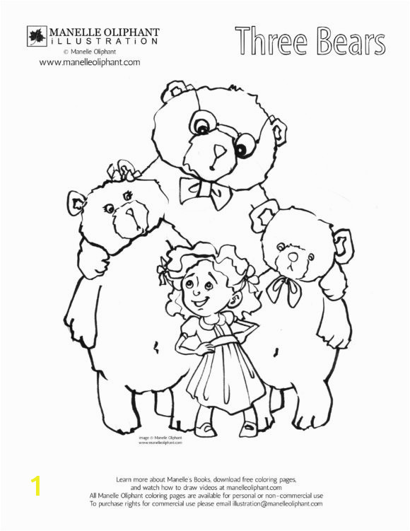 fair goldilocks and the three bears color page