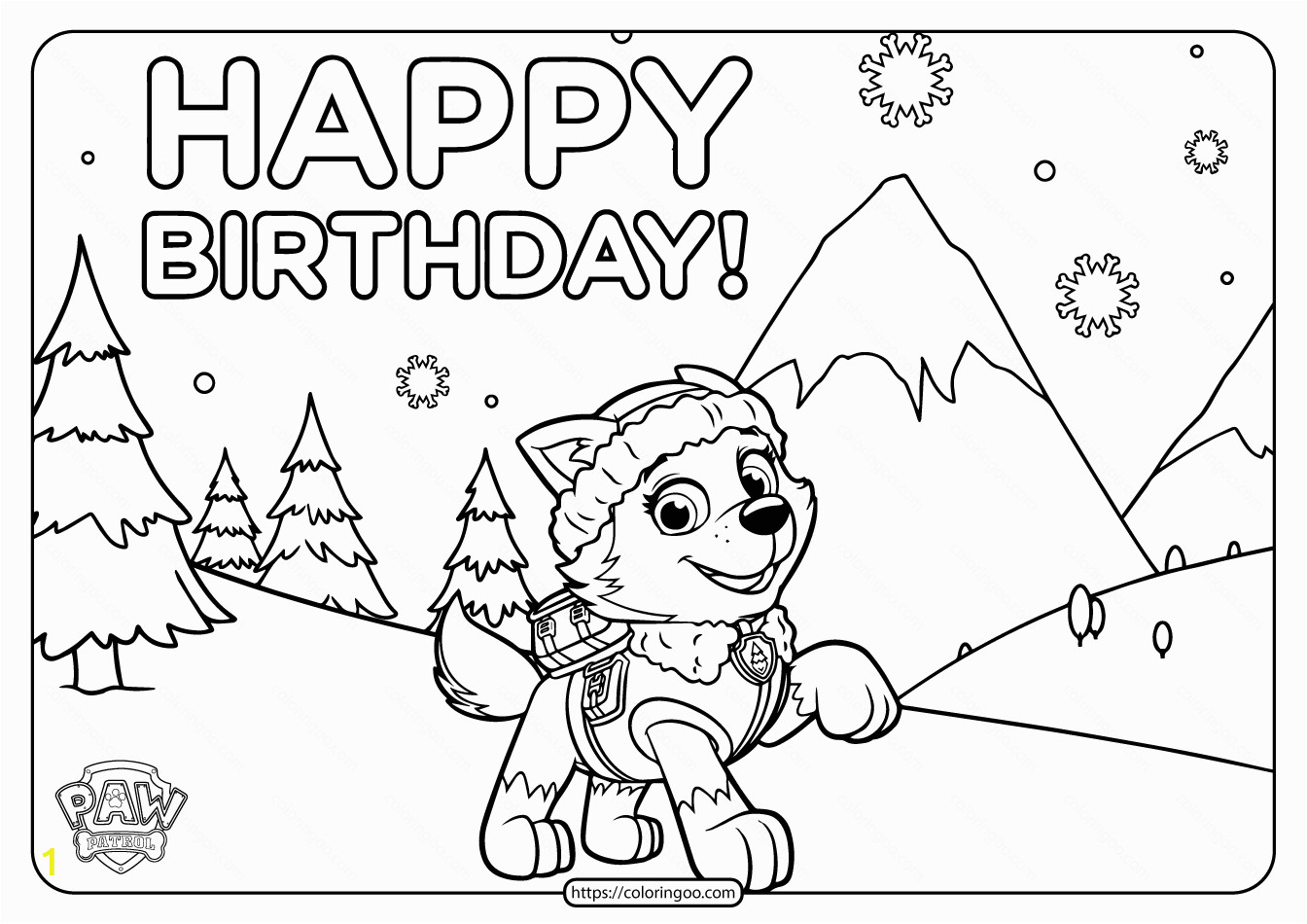paw patrol printable birthday coloring pages