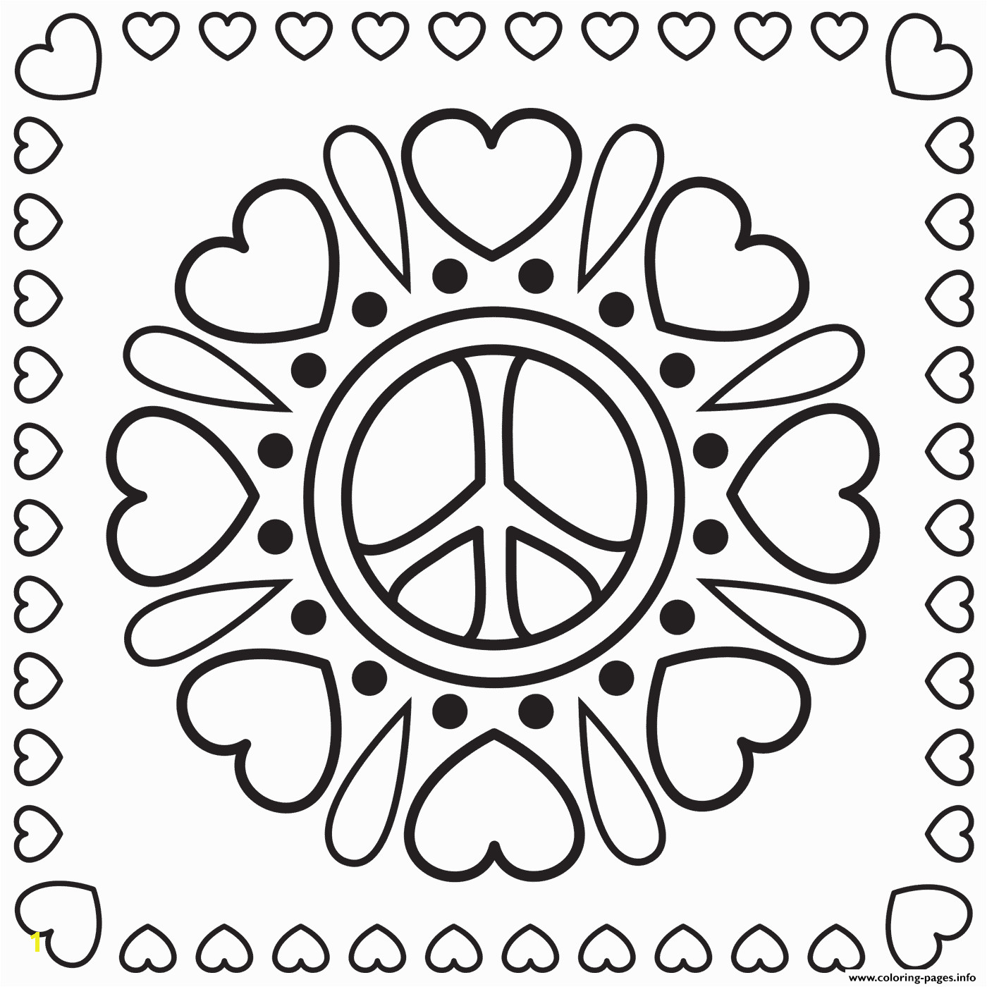hearts and peace signs printable coloring pages book
