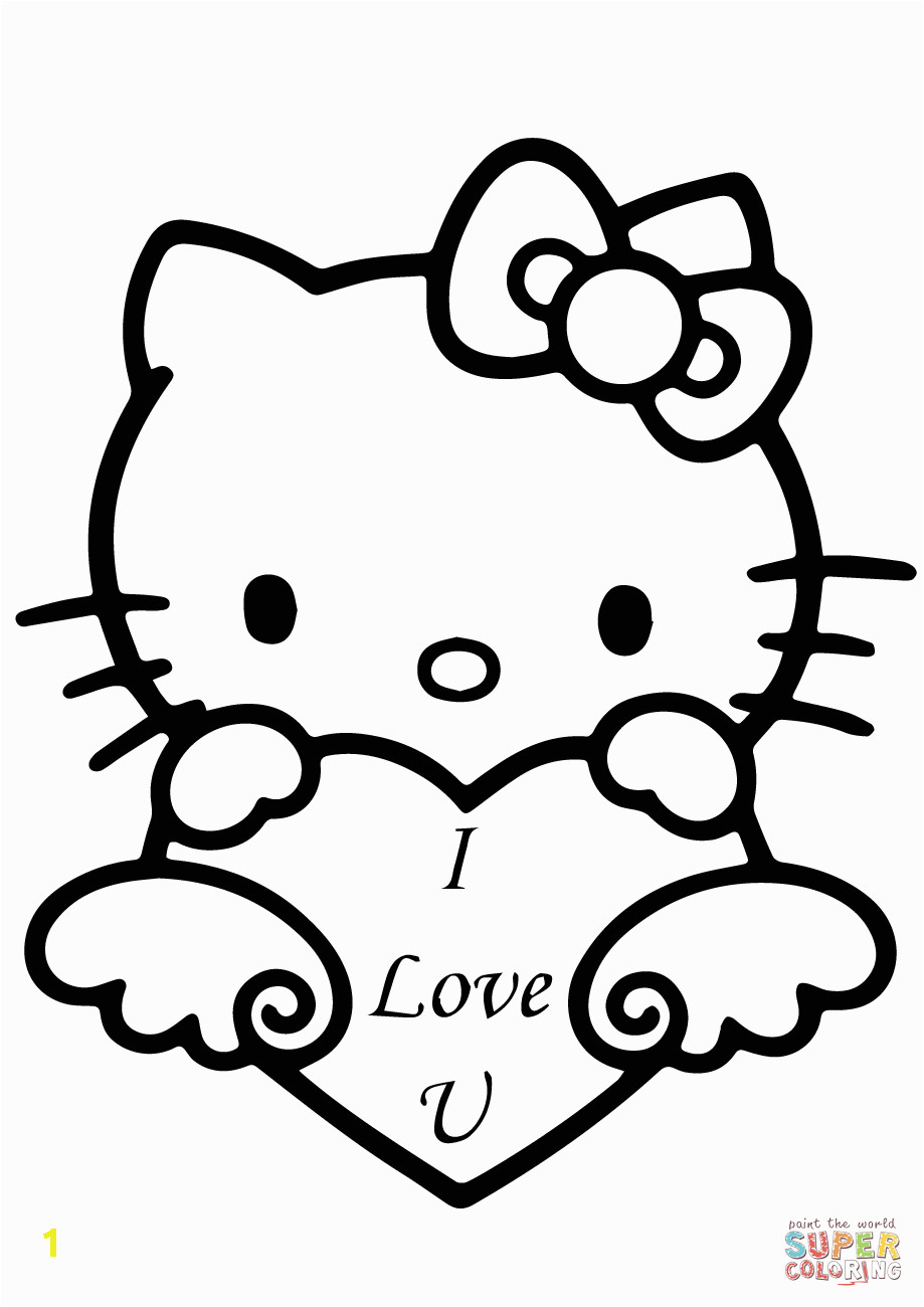 """Hello Kitty I Love You Coloring Pages Hello Kitty with """"i Love You"""" Heart Coloring Page"""