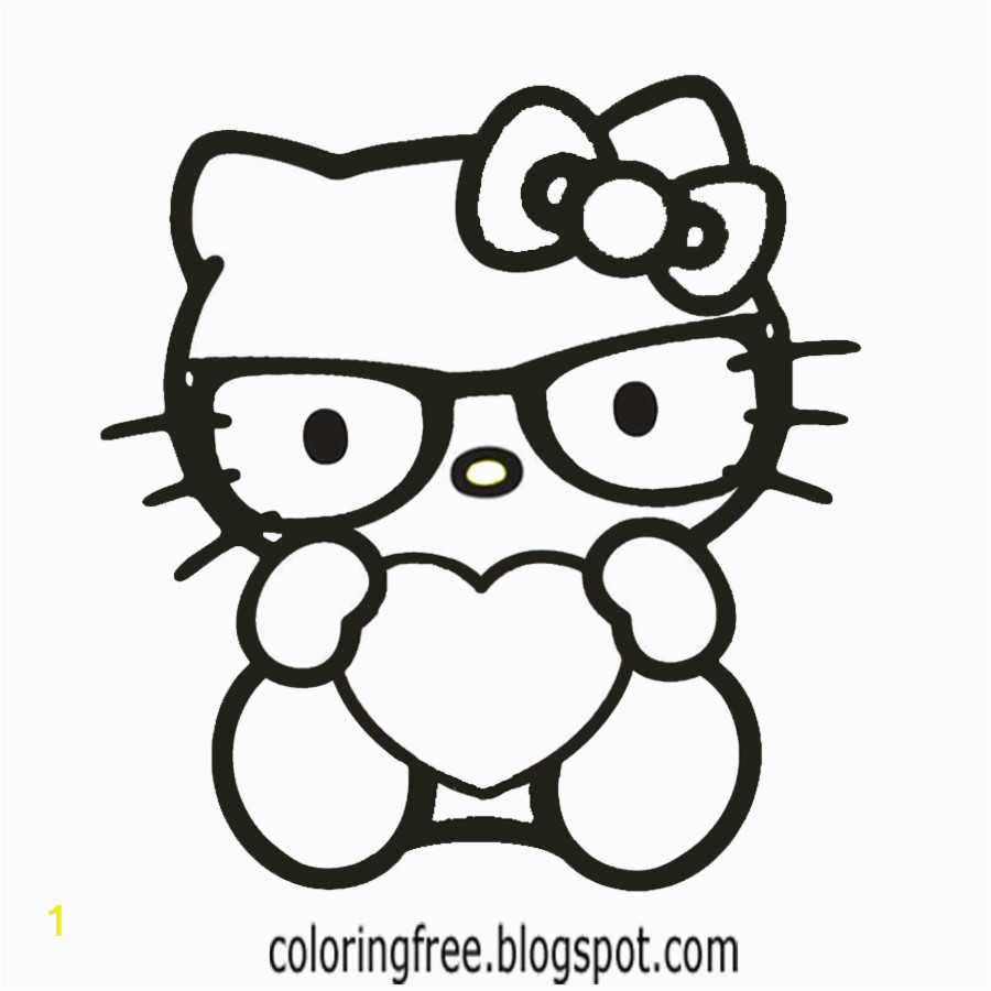 Hello Kitty with Glasses Coloring Pages Free Coloring Pages Printable to Color Kids