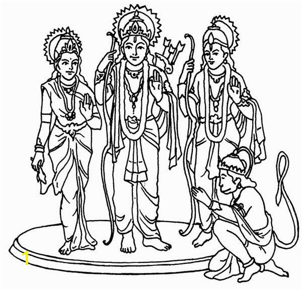 Hindu Gods and Goddesses Coloring Pages Hindu God and Goddess In Diwali Coloring Page Netart