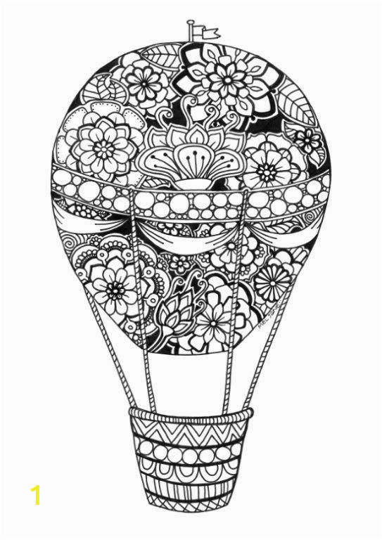 hot air balloon coloring pages for adult