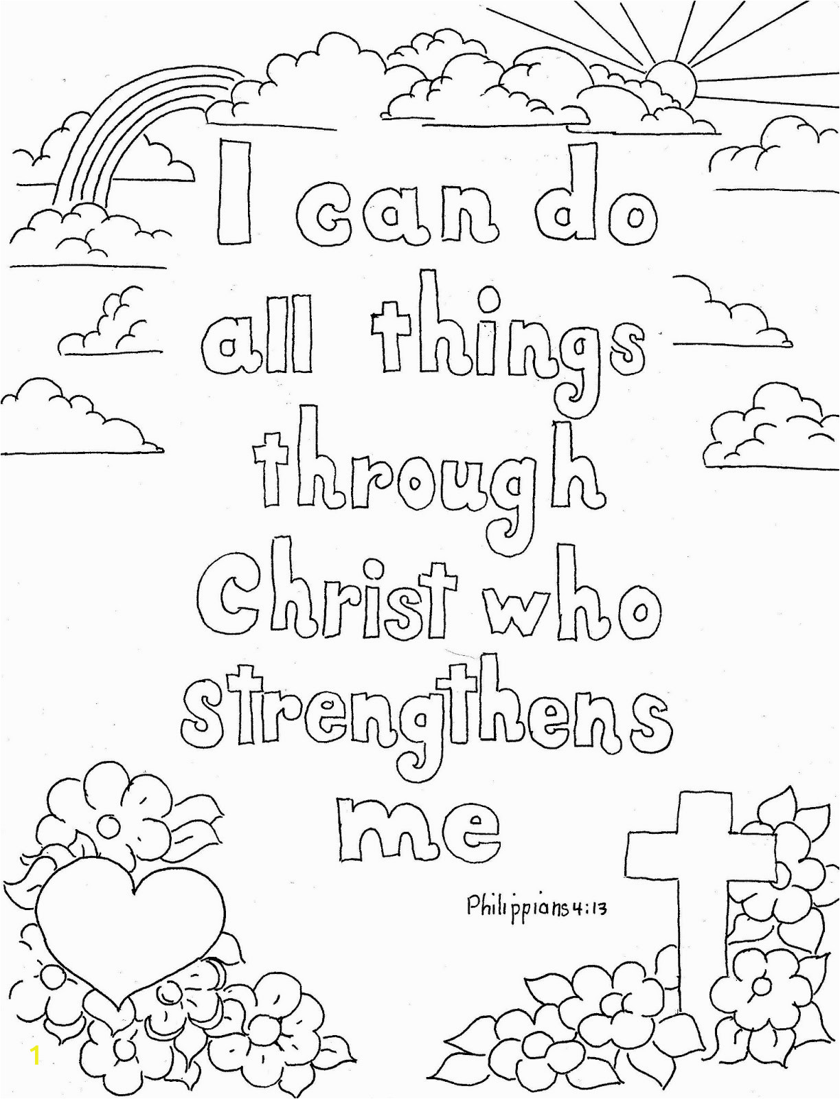 philippians 413 print and color page