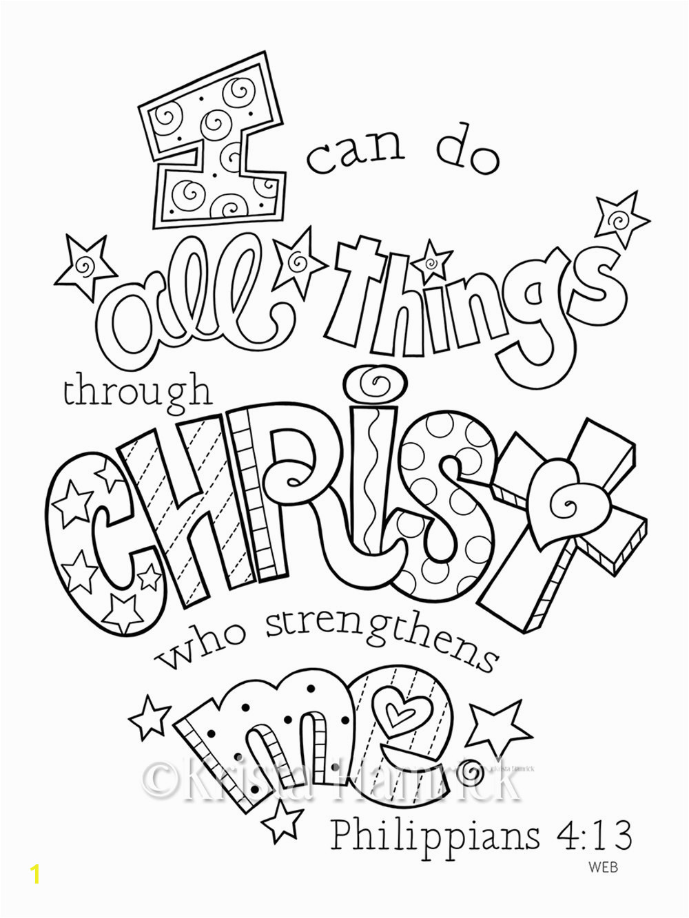 I Can Do All Things Coloring Page I Can Do All Things Through Christ Coloring Page 8 5×11