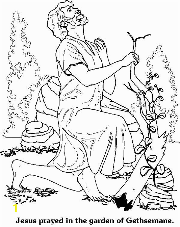 jesus prayed in the garden of hsemane in jesus resurrection coloring page