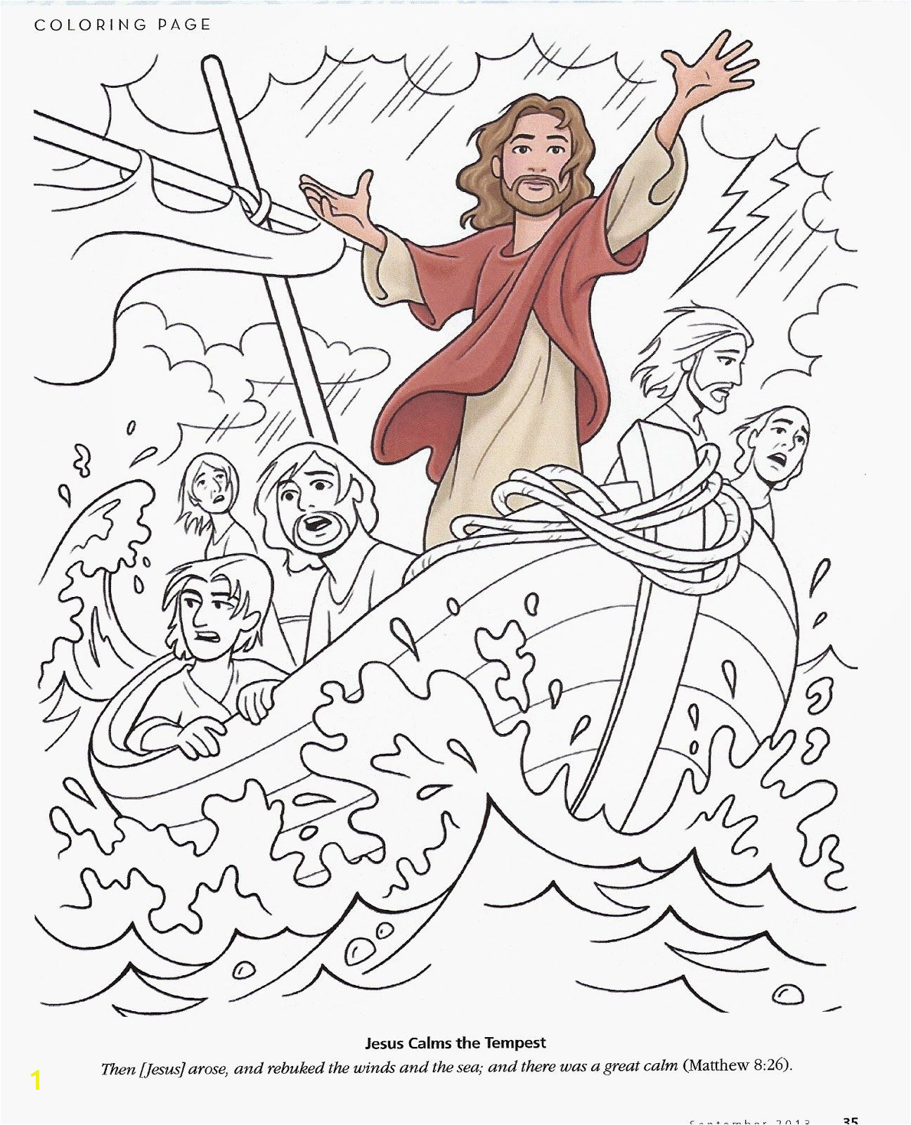 jesus calms the storm coloring pages