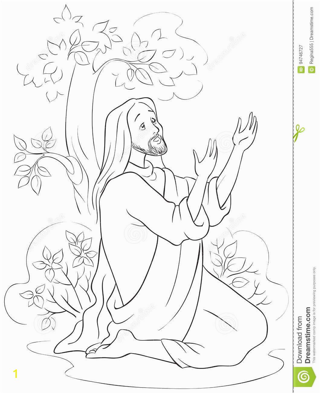 stock illustration prayer jesus hsemane garden coloring page scene night crucifixion vector christian cartoon black white image