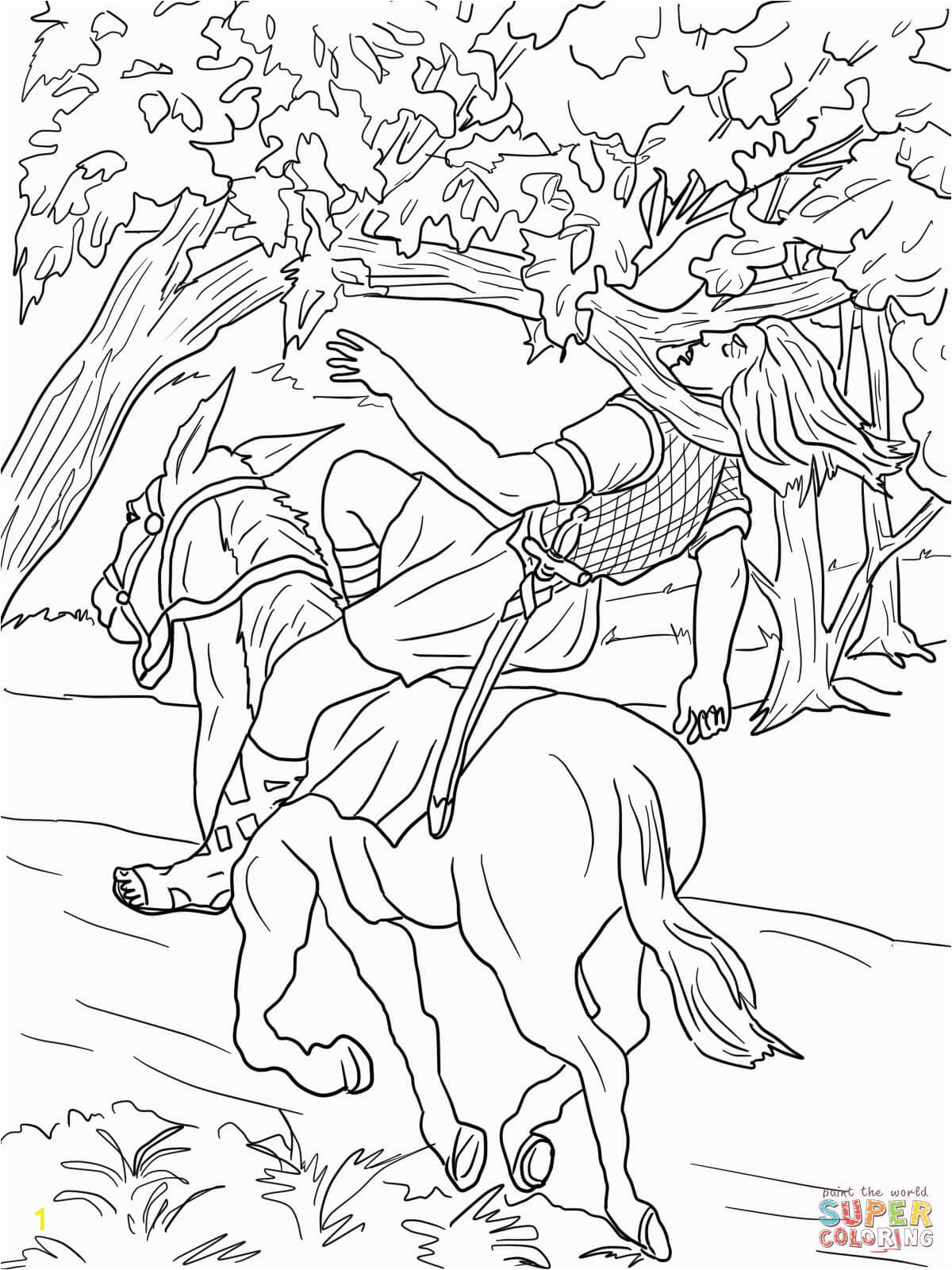 King David and Absalom Coloring Pages King David and Absalom Coloring Page Sketch Coloring Page