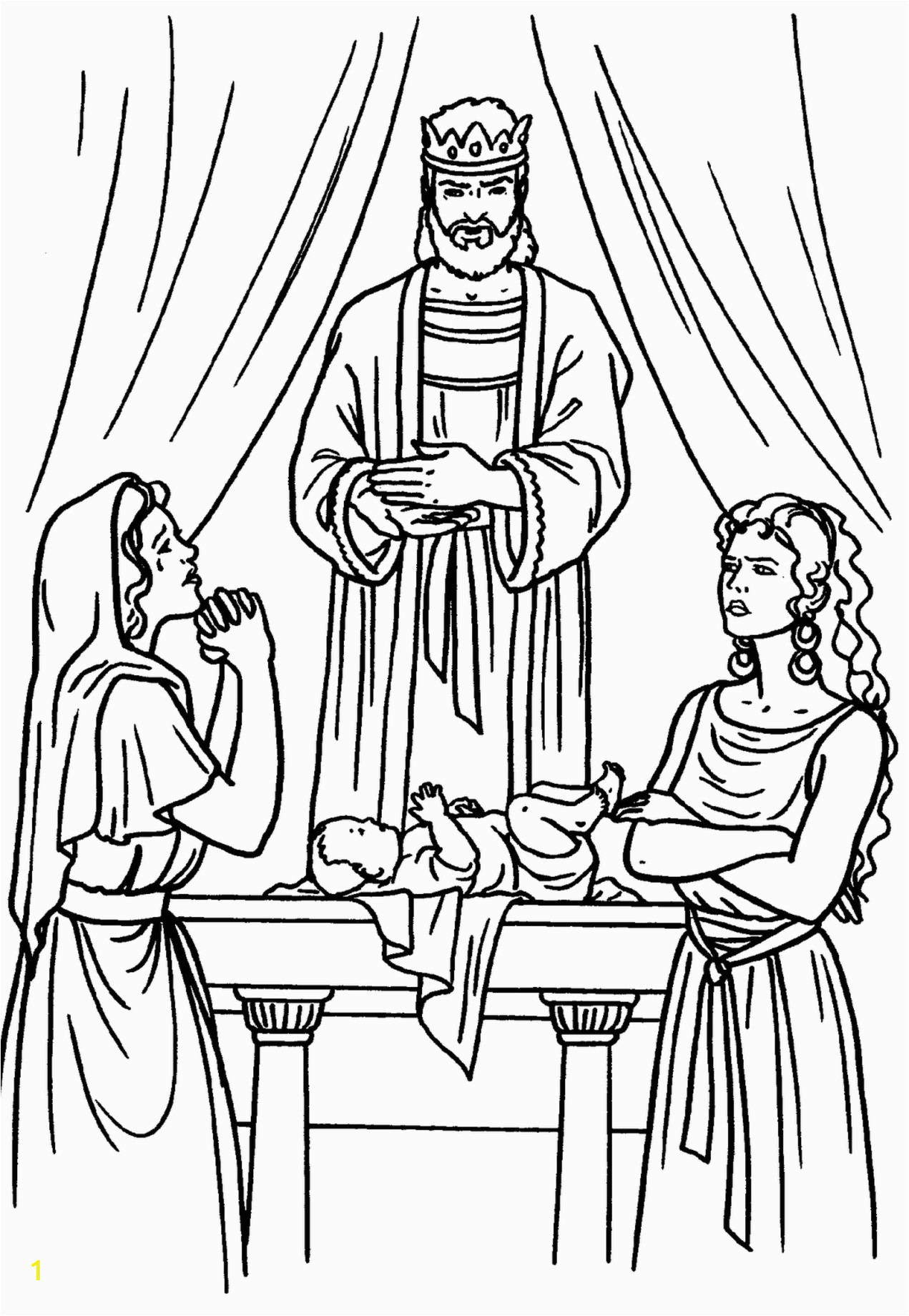 King solomon and the Baby Coloring Pages solomon Two Women and A Baby Bible Coloring Page
