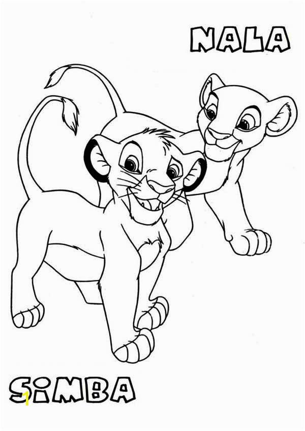 awesome simba and nala coloring page