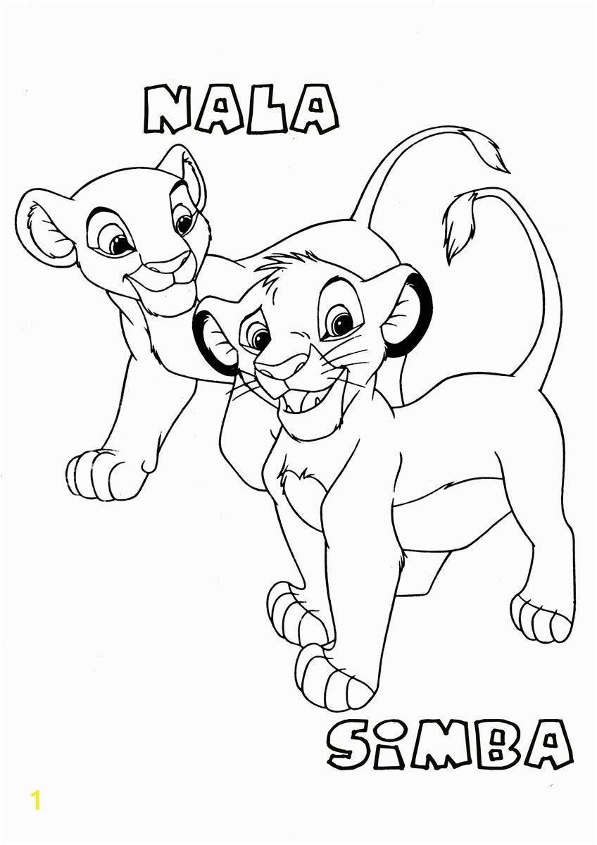 simba and nala2 the lion king coloring page