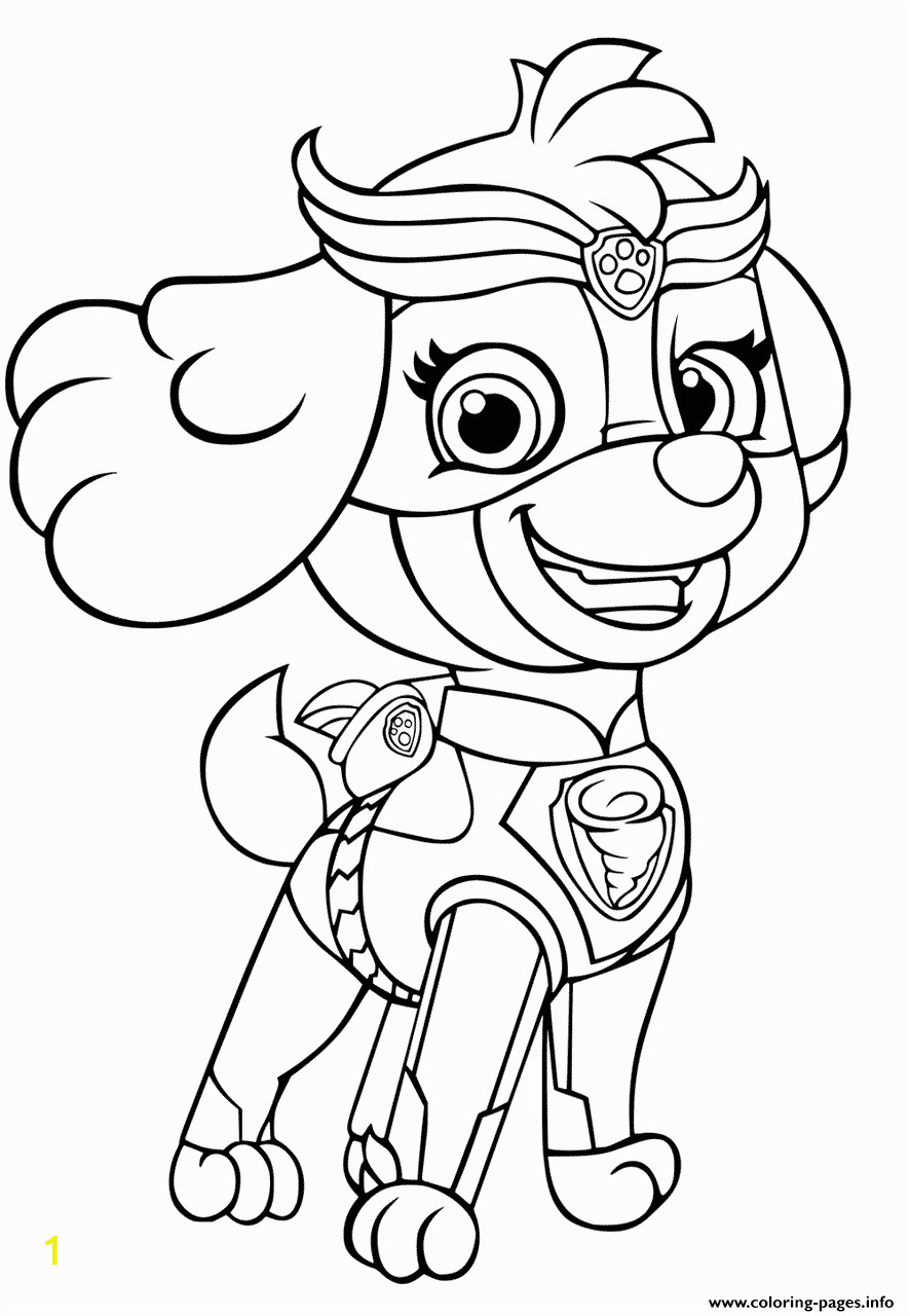 paw patrol mighty pups skye for girls printable coloring pages book