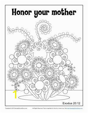 Mothers Day Coloring Page for Sunday School Honor Your Mother Coloring Page