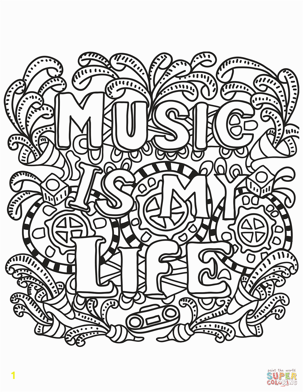 Music is My Life Coloring Pages Music is My Life Coloring Page