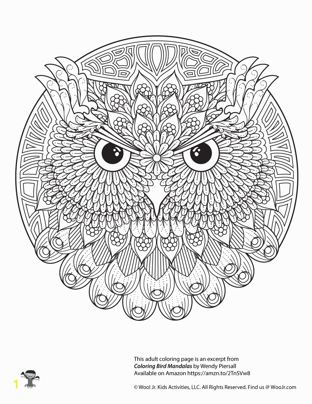 owl adult coloring free