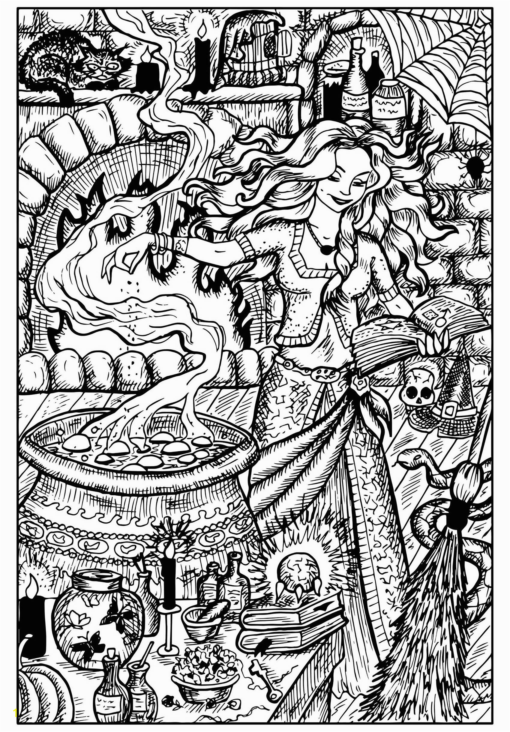 halloween adult coloring pages image=events halloween coloring page beautiful witch and her cauldron 1