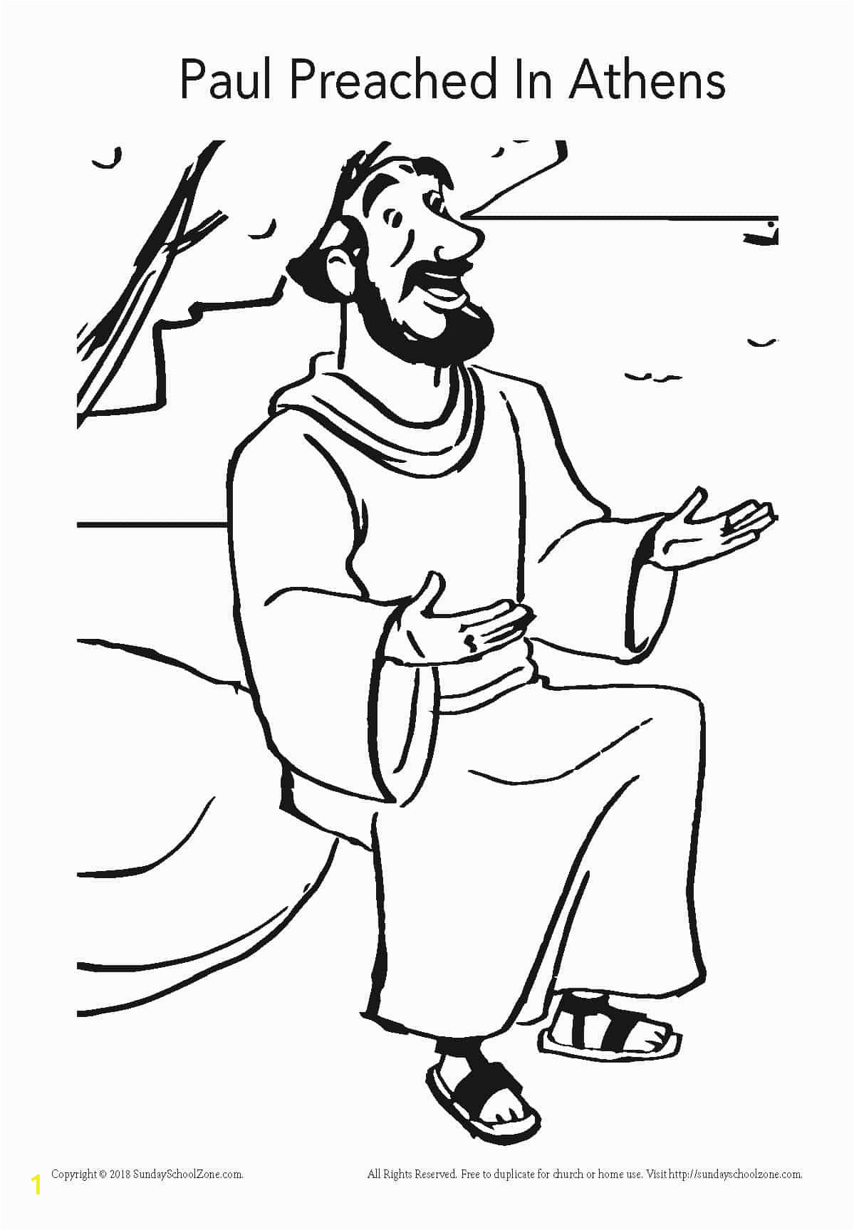 Paul Taught In athens Coloring Page Paul Preached In athens Coloring Page On Sunday School Zone