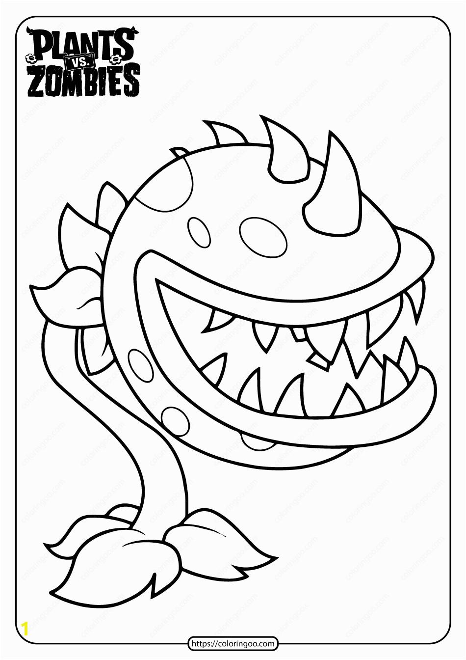 plants vs zombies chomper pdf coloring page
