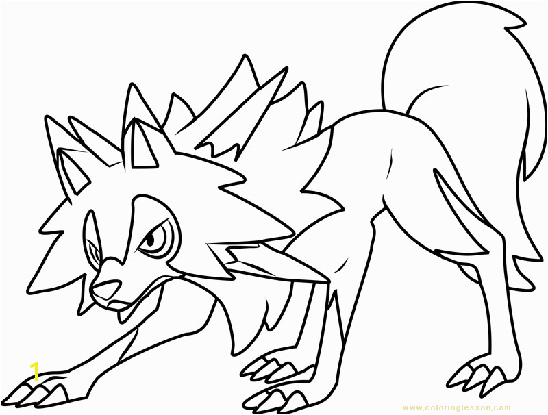 lycanroc midday form pokemon sun and moon kids coloring page