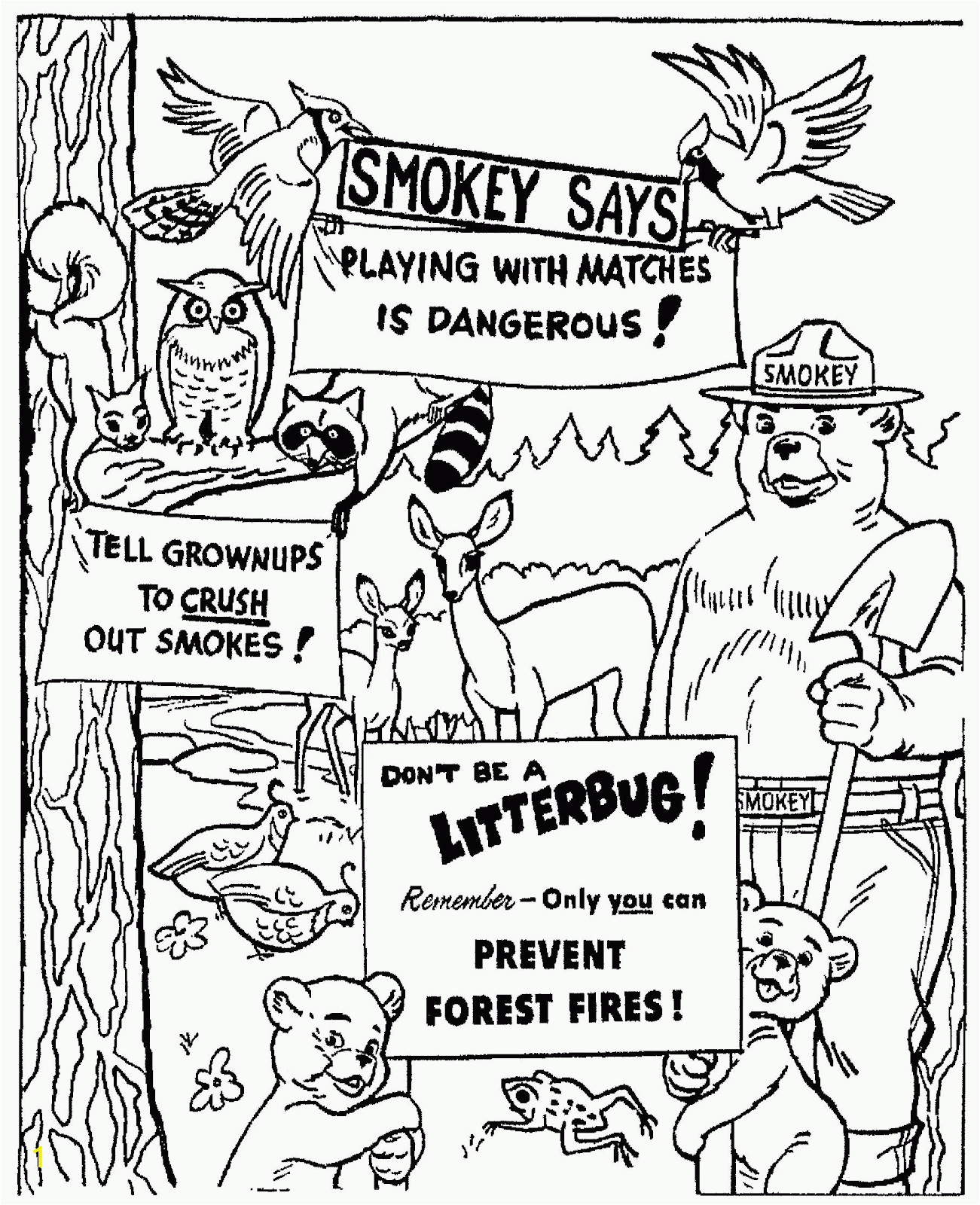smokey bear coloring pages