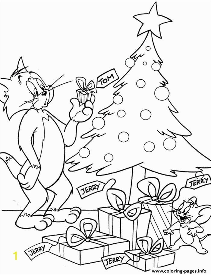 tom and jerry in christmas day a721 printable coloring pages book 7072