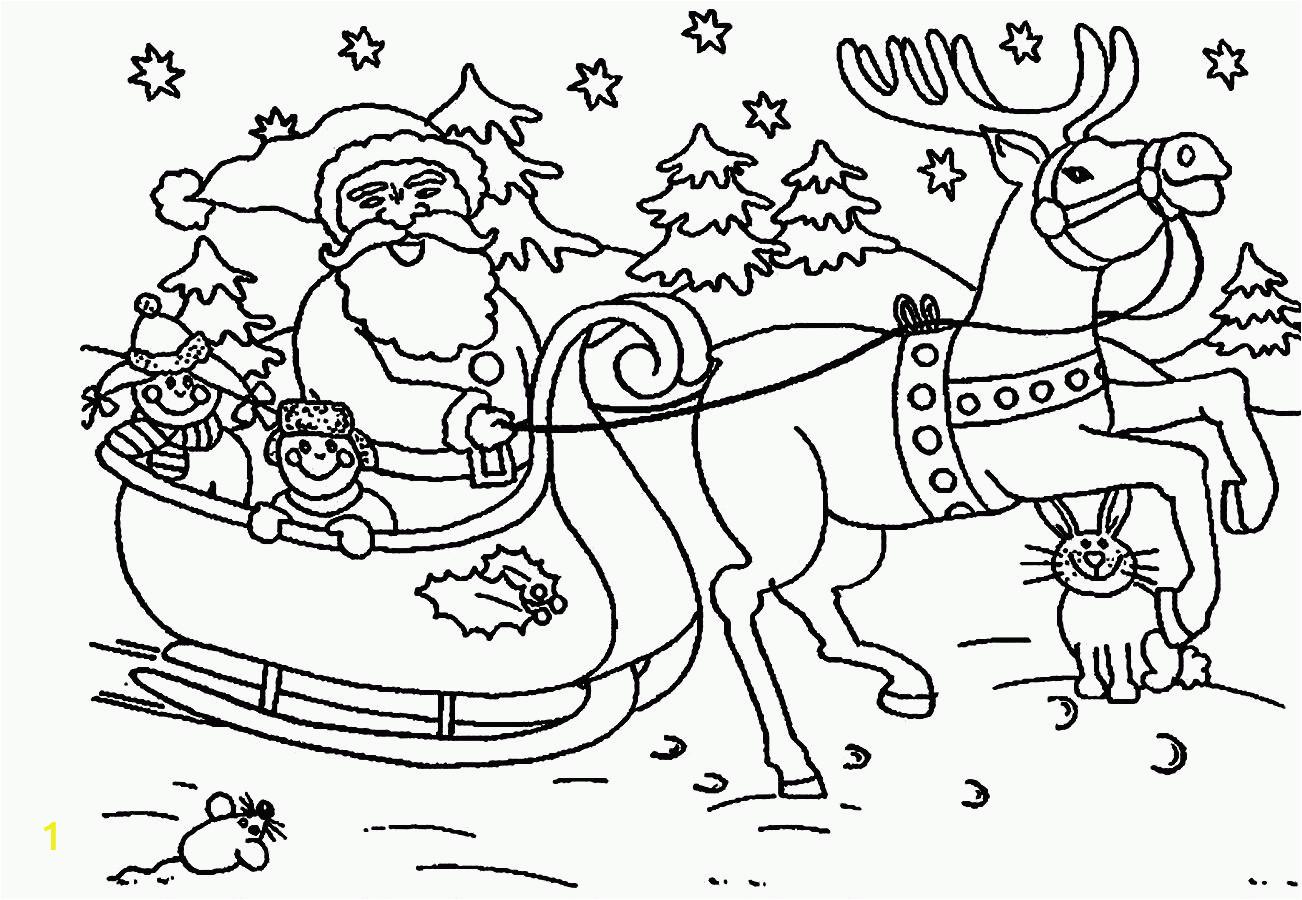 santa and reindeer coloring pages printable