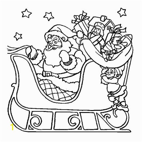 Santa and Sleigh Coloring Pages Printable Santa Claus Riding His Sleigh Christmas Coloring Page