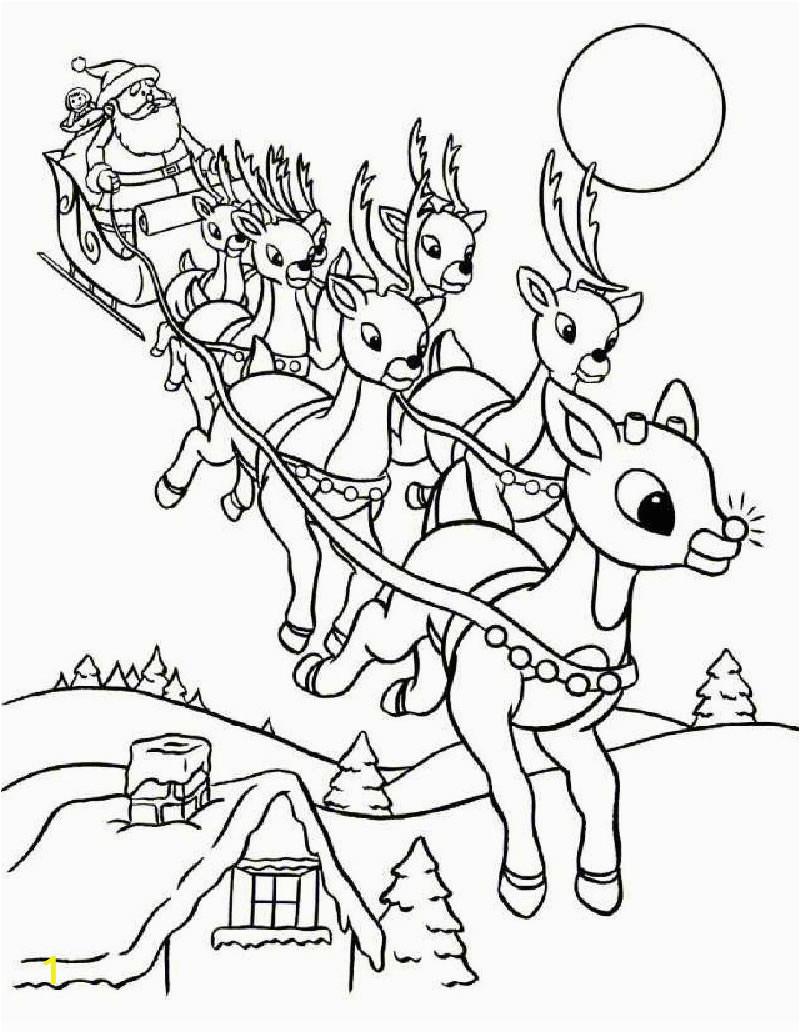 Santa Sleigh and Reindeer Coloring Page Rudolph and Santa Sleigh Coloring Pages Hellokids