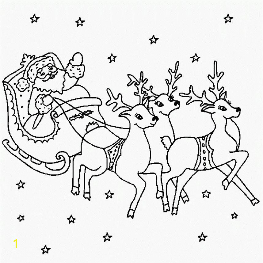 santa sleigh and reindeer coloring pages